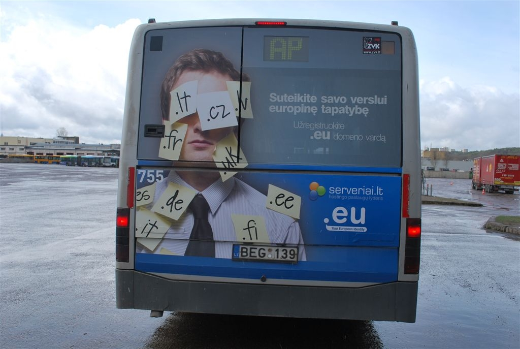 Troleibuso galas su .EU reklama