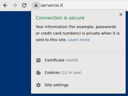 Svetainės atvaizdavimas su Chrome naršykle kai svetainėje yra įdiegtas SSL sertifikatas