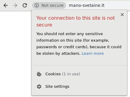 Svetainės atvaizdavimas su Chrome naršykle kai svetainėje nėra įdiegto SSL sertifikato