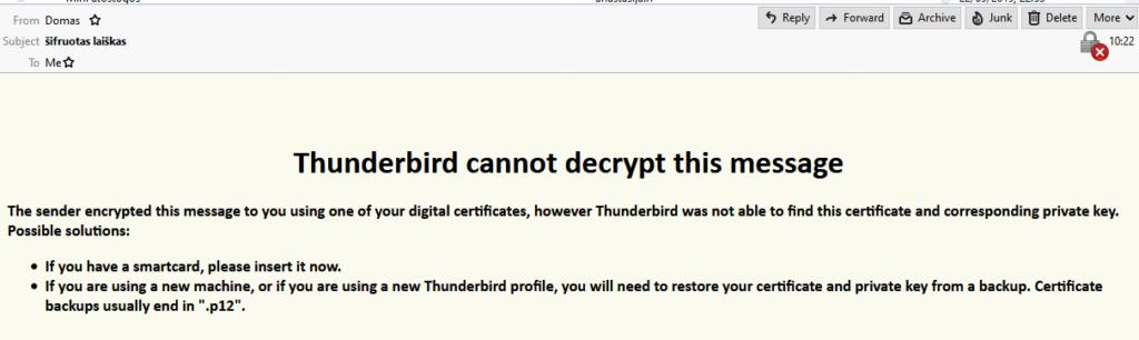 Ekrano nuotrauka kaip atrodo šifruotas laiškas Thunderbird programoje jei jį bando perskaityti kitas asmuo be sertifikato